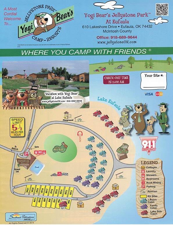 Yogi Bears Jellystone Park Eufaula OK Campground Map